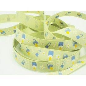 5M x 10mm baby bottle & teat grosgrain ribbon - Lime green