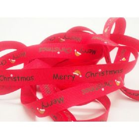 5M x 15mm grosgrain Merry Xmas ribbon  - Red