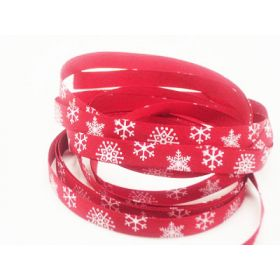 5M x 10mm single face satin snow flakes xmas ribbon - Red