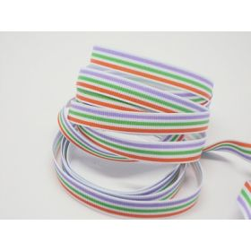 5M x 10mm multi-coloured grosgrain stripe pattern ribbon - red/green/purple on white background
