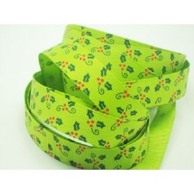 5M x 15mm grosgrain  Xmas mistletoe ribbon  - lime green