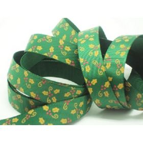 5M x 15mm grosgrain Xmas mistletoe ribbon  - forest green