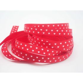 5M x 10mm Grosgrain (valentine's ribbon) - white on red background
