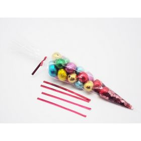 "Pack of 25 Cone shaped cellophane sweets / candy / favour / gift bags (12"" x 6"") with 4"" red metallic twist ties"