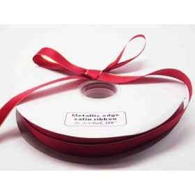 5M x 15mm Gold metallic edge satin ribbon - Red