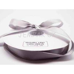 5M x 22mm Silver metallic edge satin ribbon - Silver
