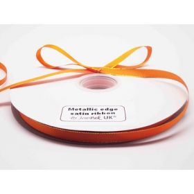 5M x 10mm Gold metallic edge satin ribbon - Tangerine