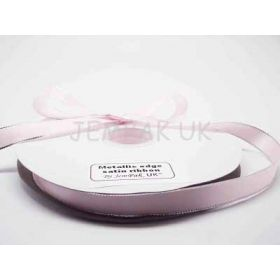 5M x 15mm Silver metallic edge satin ribbon - Baby Pink