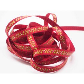 5M x 10mm Satin Xmas mistletoe ribbon  - Red