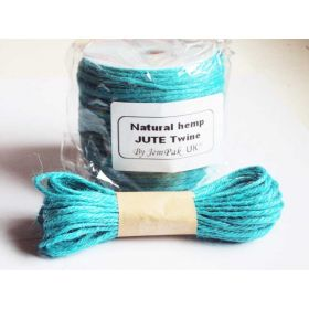 JEMPAK UK 10M x 2mm thick TURQOUISE BLUE natural Hemp Jute Twine rope