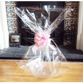 "JEMPAK UK 24"" x 30"" EXTRA  LARGE cellophane basket bags with PINK pull bow  (Pack of 1)"