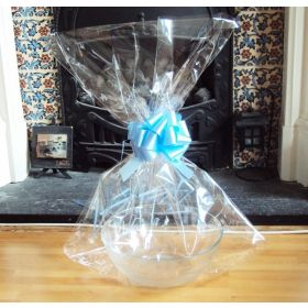 "JEMPAK UK 20"" x 30"" LARGE cellophane basket bags with BLUE pull bow (Pack of 1)"