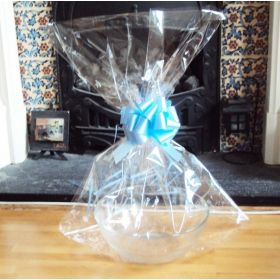 "JEMPAK UK 24"" x 30"" EXTRA LARGE cellophane basket bags with BLUE pull bow  (Pack of 1)"