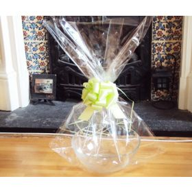 "JEMPAK UK 24"" x 30"" EXTRA LARGE cellophane basket bags with LIME GREEN pull bow  (Pack of 1)"