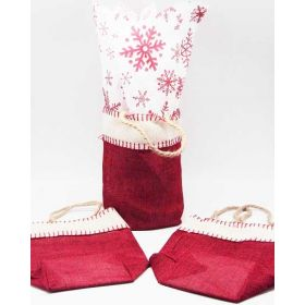 Deep red Burlap/Hessian tote bag/gift bag with xmas snowflasks printed tissue paper (12cm x 8cm x 23cm)