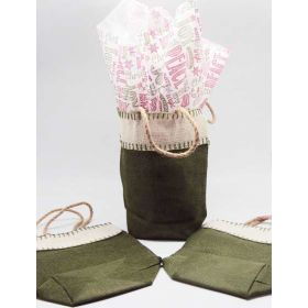 green leaf Burlap/Hessian tote bag/gift bag with chalkboard xmas wishes printed tissue paper (12cm x 8cm x 23cm)