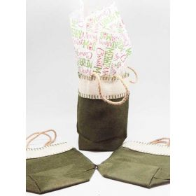Green leaf Burlap/Hessian tote bag/gift bag with Merry Xmas manger printed tissue paper (12cm x 8cm x 23cm)