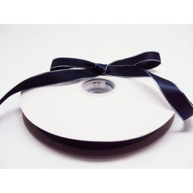 5M x 15mm Silver metallic edge satin ribbon - Navy blue