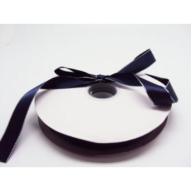 5M x 22mm Silver metallic edge satin ribbon - Navy blue