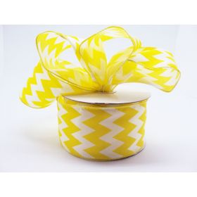 3M x 64mm CUT length Chevron pattern wired edge Satin ribbon  - Bright Yellow