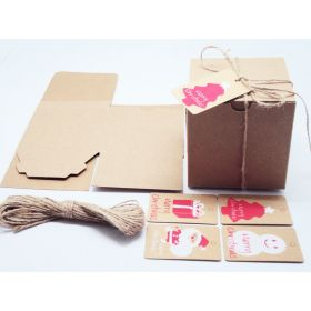 Pack of 10 BROWN KRAFT Gift/favour boxes with hinged lid (10cm x 10cm x 10cm) String & XMAS tags included