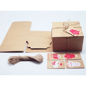 Pack of 10 BROWN KRAFT Gift/favour boxes with hinged lid (13cm x 13cm x 8cm) String & XMAS tags included.