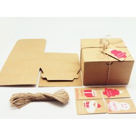 Pack of 10 BROWN KRAFT Gift/favour boxes with hinged lid (15cm x 15cm x 10cm) with Jute twine and XMAS tags included