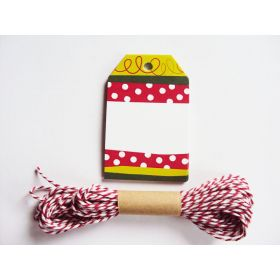 Pack of 10 Christmas Stripe Printed Gift Tags with Red Baker's twine - (6cm x 9cm)