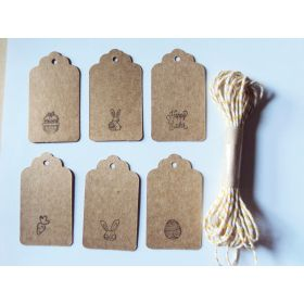 JEMPAK UK® Pack of 10 assorted design Easter print BROWN kraft tags with 5M yellow Baker's Twine for Packaging/Gift Wrapping/Card-making/General Decoration