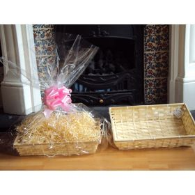 DIY hamper kit containing small Rectangular Bamboo Basket Tray, cellophane basket bag, PINK pull bow and paper shred