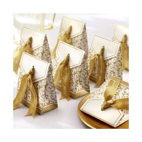 Pack of 10 wedding favour box with gold satin ribbon (70mm x 35mm x 85mm)