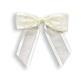 "1½"" Pre-Tied Organza Sheer Bows with satin edge - Ivory (Pack of 12)"