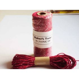 JEMPAK UK 10M x 2mm thick 100% cotton bakers twine  - red with silver