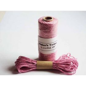 JEMPAK UK 10M x 2mm thick 100% cotton bakers twine pink with silver