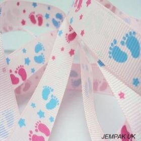 5M x 10mm Grosgrain Baby feet ribbon - Pink