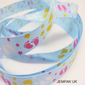 5M x 10mm Grosgrain Baby feet ribbon - Turquoise blue