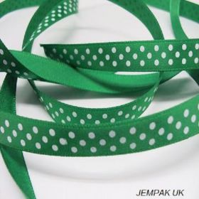 5M x 10mm Single face satin micro polka dot ribbon - white on forest green