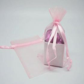 "Pack of 10 Pink organza bags with satin drawstring cord (4"" x 6"")"
