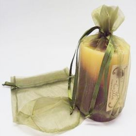 "Pack of 10 Moss organza pouches with satin drawstring (6.5""x4""x7"")"