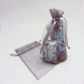 "Pack of 10 Silver organza bags with satin drawstring cord (5"" x 7"")"
