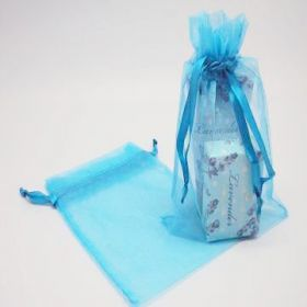 "Pack of 10 Turquoise blue organza bags with satin drawstring cord (5"" x 7"")"