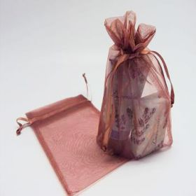 "Pack of 10 Copper organza bags with satin drawstring cord (5"" x 7"")"
