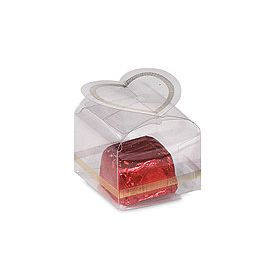 Pack of 12 Clear PVC Square with heart top favour box (4cm x 4cm x 3cm)