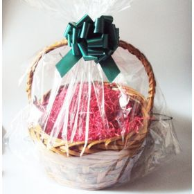 "23"" x 11"" x 24"" Bottom gusseted cellophane basket bags with GREEN pull bow for gift packaging & hamper making (Pack of 1)"