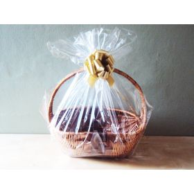 "23"" x 11"" x 24"" Bottom gusseted cellophane basket bags with GOLD Pull bow for gift packaging & hamper making (Pack of 1)"