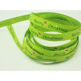 5M x 10mm grosgrain Merry Xmas ribbon  - lime green