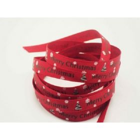 5M x 10mm grosgrain Merry Xmas tree ribbon  - Red