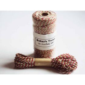 JEMPAK UK 10M x 2mm thick 100% cotton bakers twine  - Xmas colour