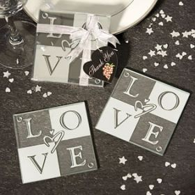Glass love coaster (Pack of 4)