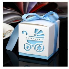 Pack of 10 Pram cut-out design Blue baby shower favour boxes with blue satin ribbon (60mm x 60mm x 60mm)